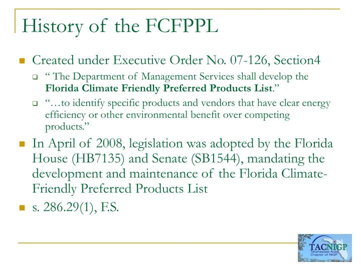 History of the FCFPPL