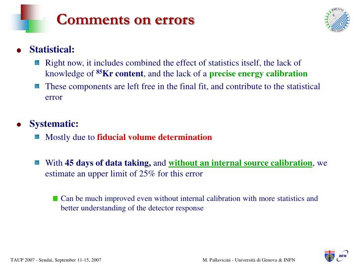 Comments on errors