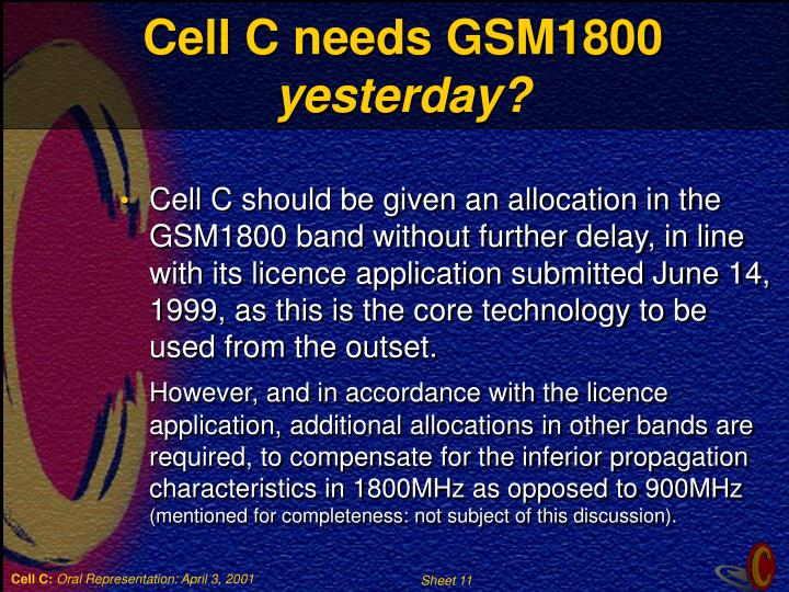 Cell C needs GSM1800