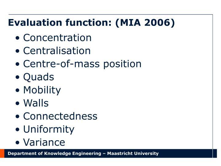 Evaluation function: (MIA 2006)