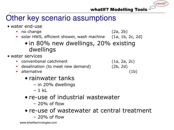 Other key scenario assumptions