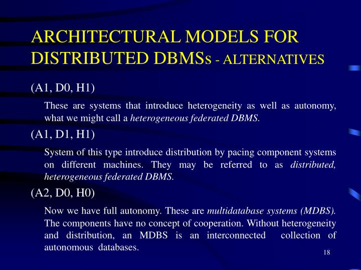 ARCHITECTURAL MODELS FOR DISTRIBUTED DBMSs