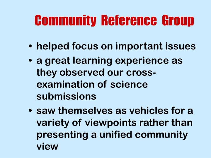 Community  Reference  Group