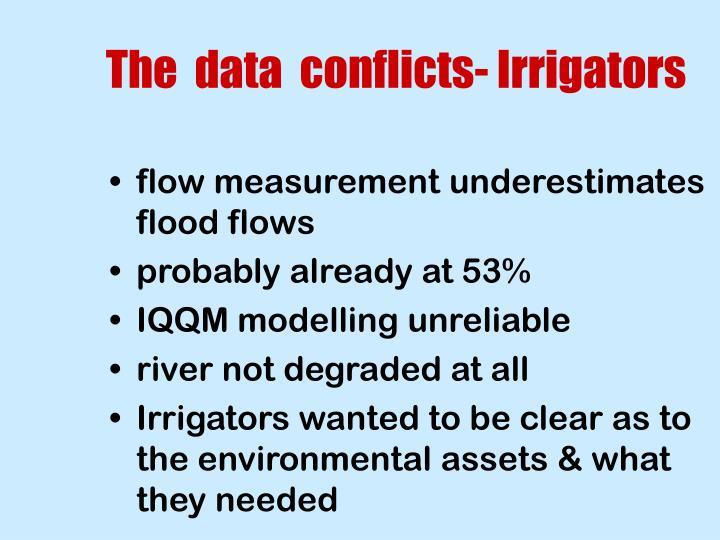 The  data  conflicts- Irrigators
