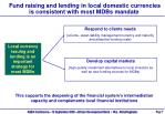 fund raising and lending in local domestic currencies is consistent with most mdbs mandate