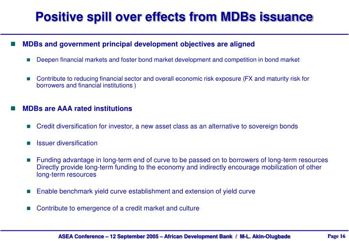 Positive spill over effects from MDBs issuance