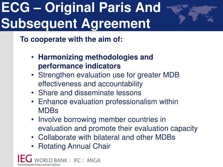 ECG – Original Paris And Subsequent Agreement