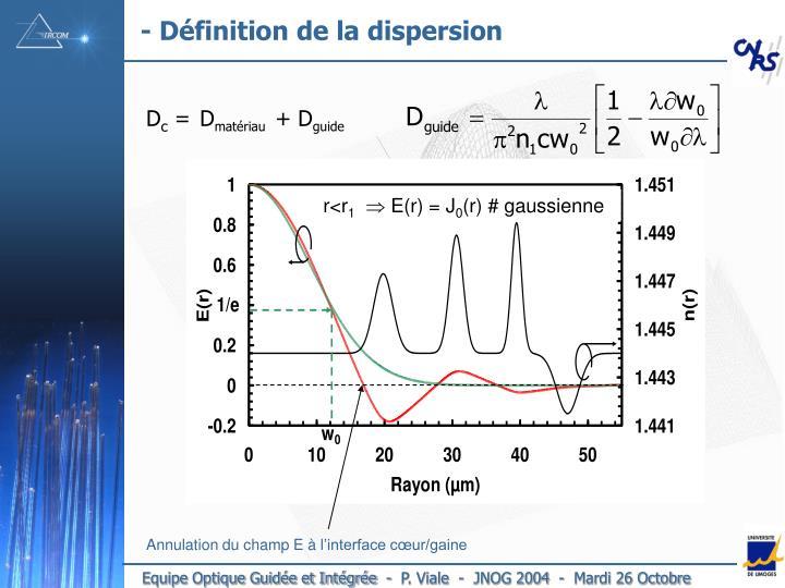 - Définition de la dispersion