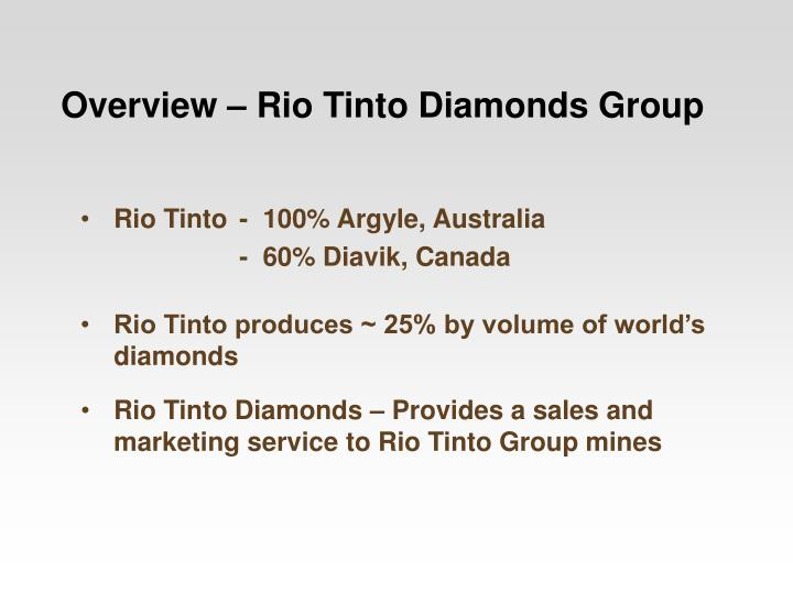 Rio tinto diamonds provides a sales and marketing service to rio tinto group mines