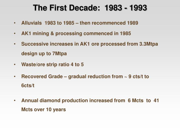 The First Decade:  1983 - 1993