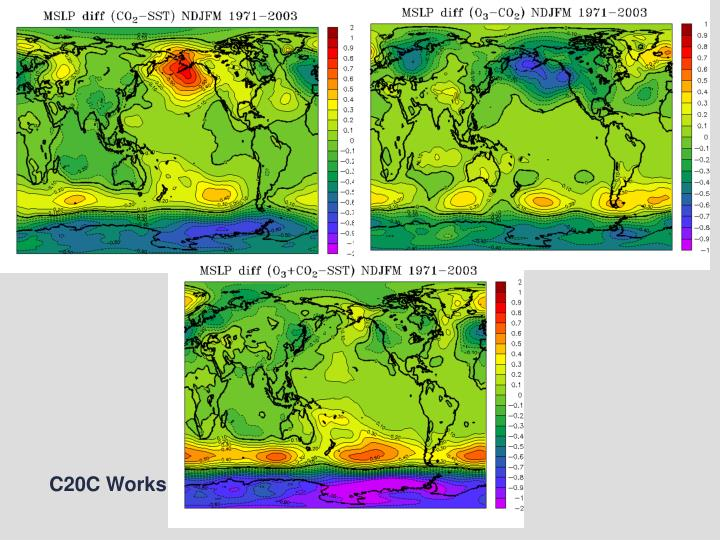 Model Simulated MSLP difference for JJA 1971-2000