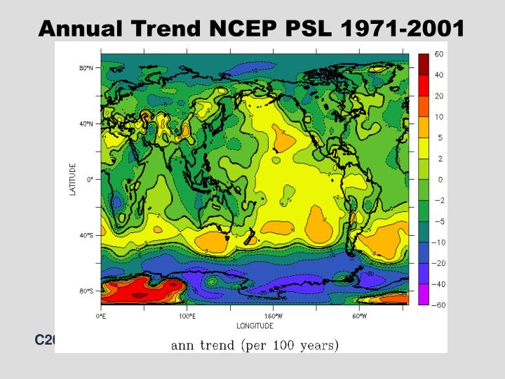 Annual Trend NCEP PSL 1971-2001