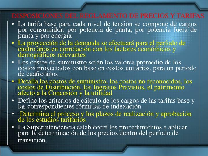 DISPOSICIONES DEL REGLAMENTO DE PRECIOS Y TARIFAS