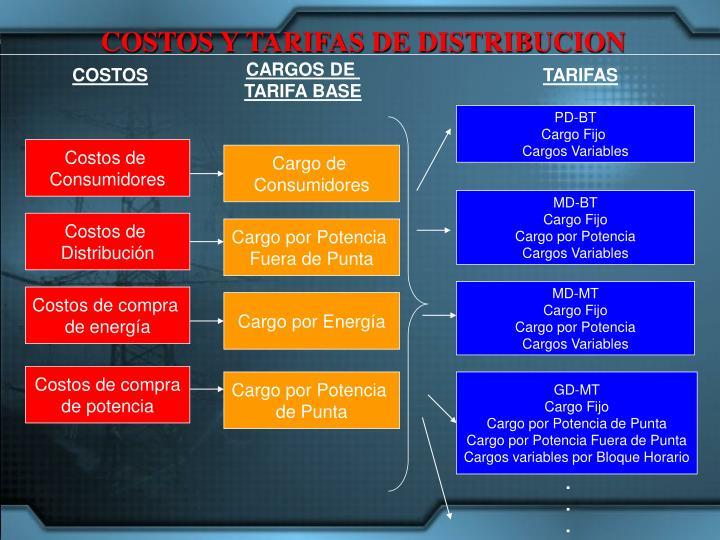 COSTOS Y TARIFAS DE DISTRIBUCION