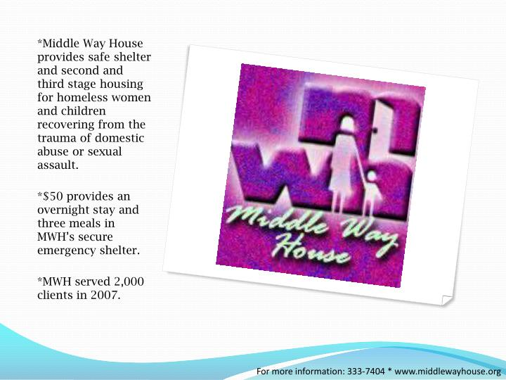 *Middle Way House provides safe shelter and second and third stage housing for homeless women and children recovering from the trauma of domestic abuse or sexual assault.