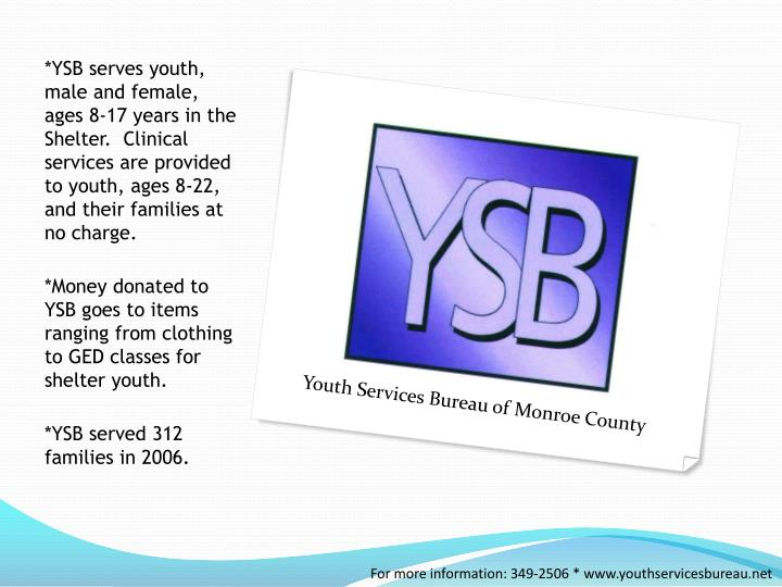 *YSB serves youth, male and female, ages 8-17 years in the Shelter.  Clinical services are provided to youth, ages 8-22, and their families at no charge.