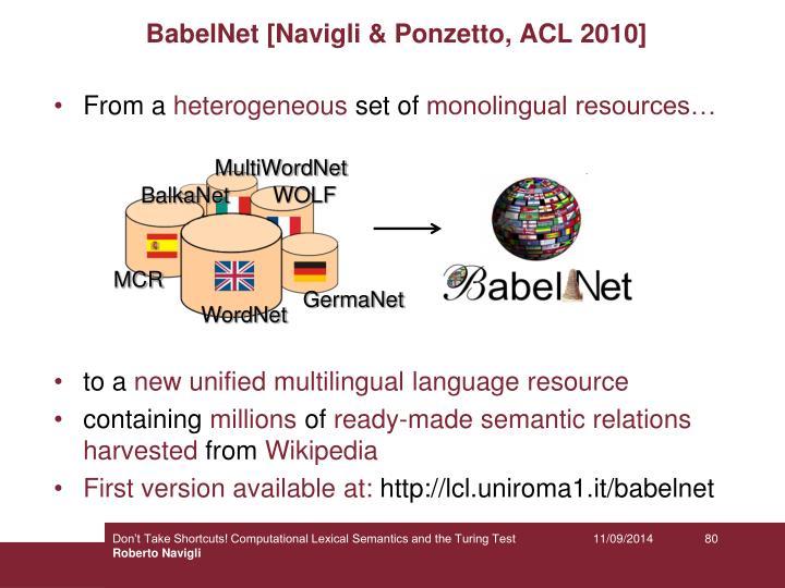 BabelNet [Navigli & Ponzetto, ACL 2010]