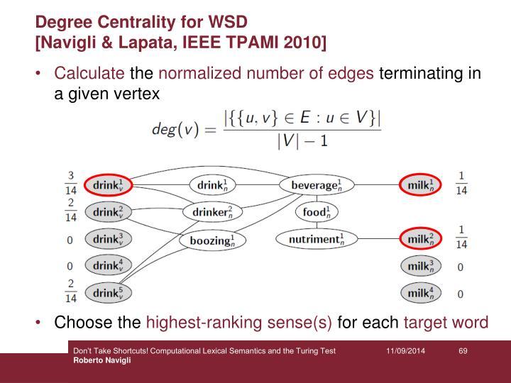 Degree Centrality for WSD
