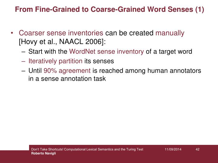 From Fine-Grained to Coarse-Grained Word Senses (1)