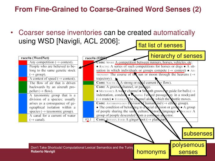 From Fine-Grained to Coarse-Grained Word Senses (2)