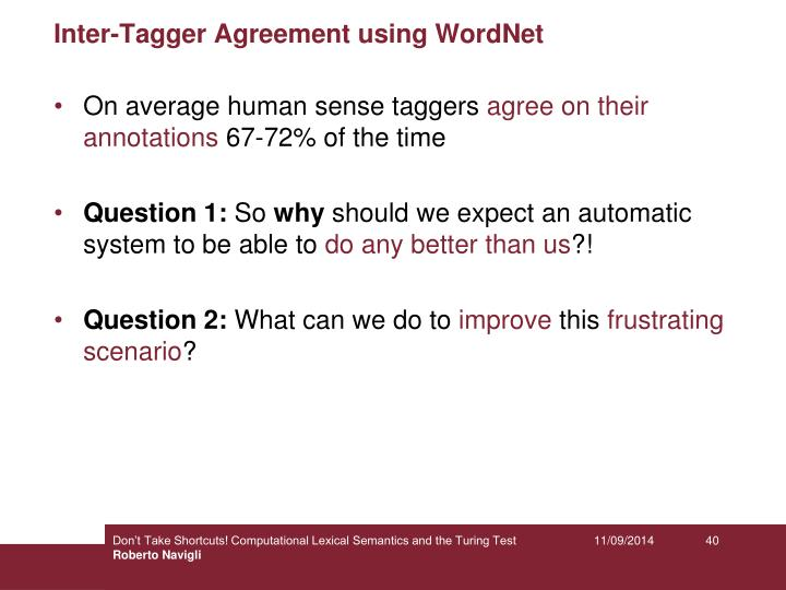 Inter-Tagger Agreement using WordNet