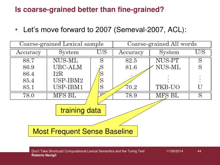 Is coarse-grained better than fine-grained?
