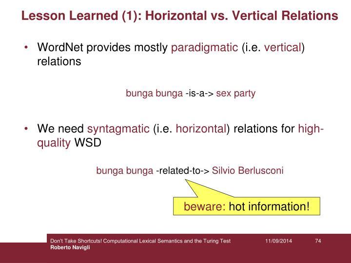 Lesson Learned (1): Horizontal vs. Vertical Relations