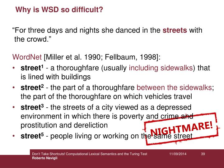Why is WSD so difficult?