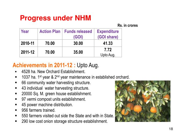 Progress under NHM