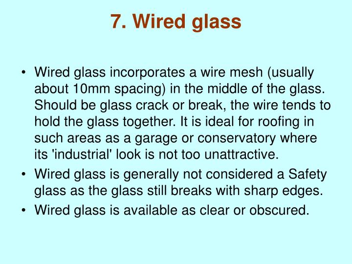 7. Wired glass