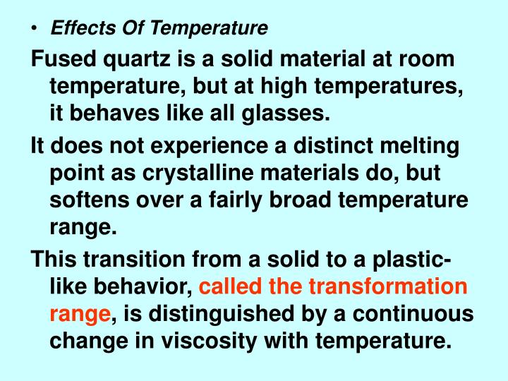 Effects Of Temperature