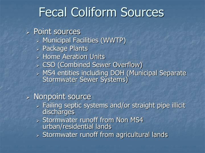 Fecal Coliform Sources