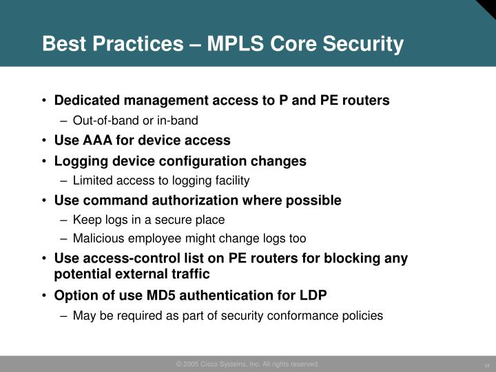 Best Practices – MPLS Core Security