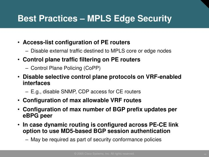 Best Practices – MPLS Edge Security