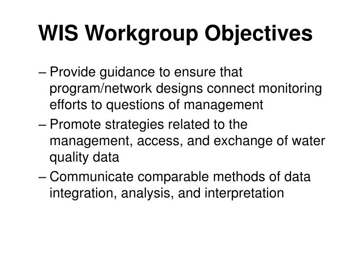 WIS Workgroup Objectives