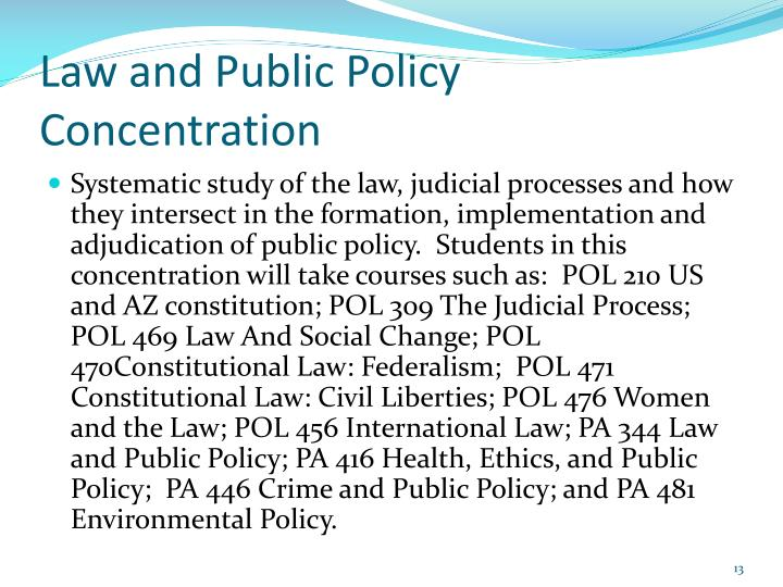 Law and Public Policy Concentration