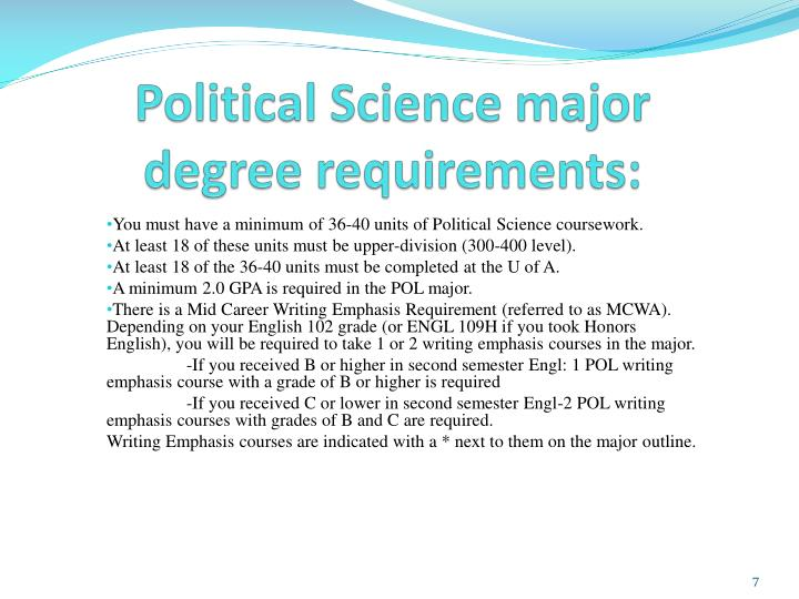 Political Science major degree requirements: