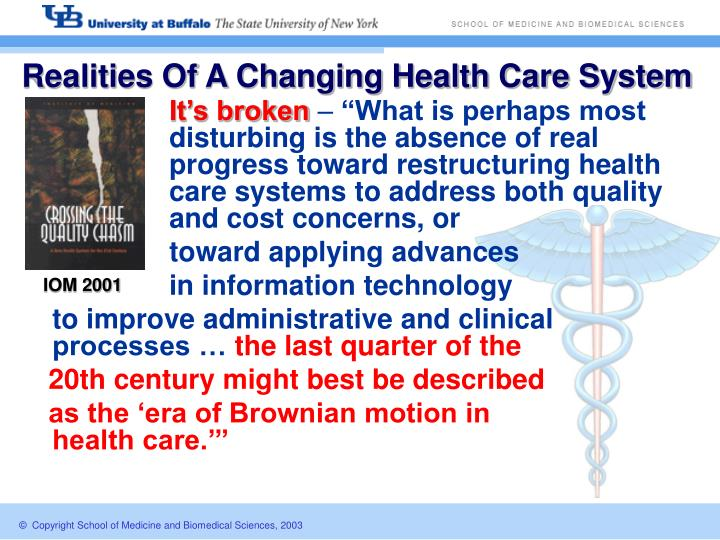 Realities Of A Changing Health Care System
