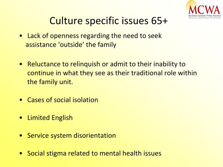 Culture specific issues 65+