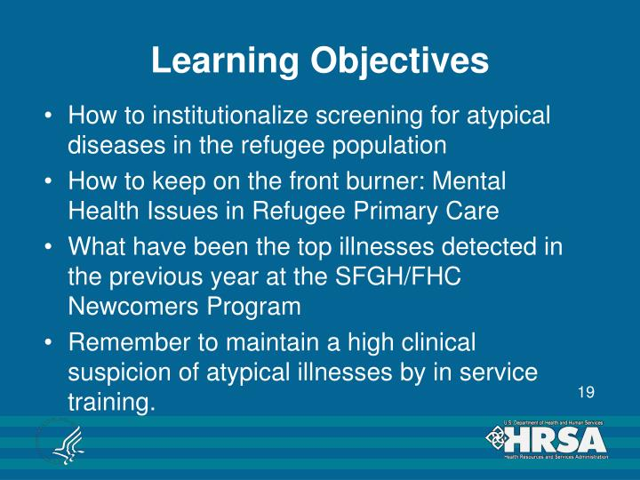 How to institutionalize screening for atypical diseases in the refugee population