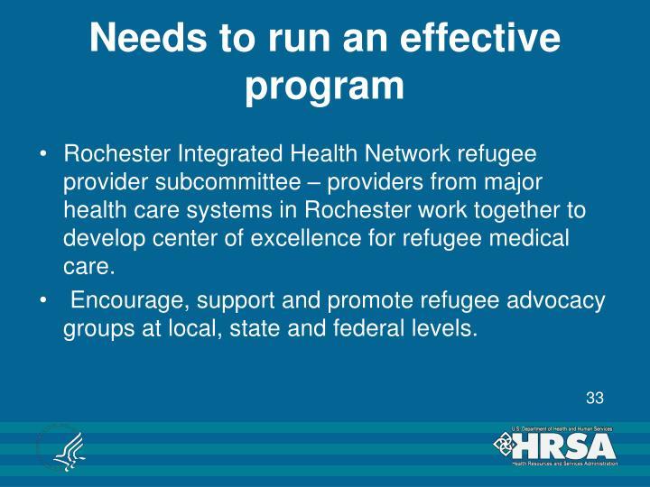Needs to run an effective program