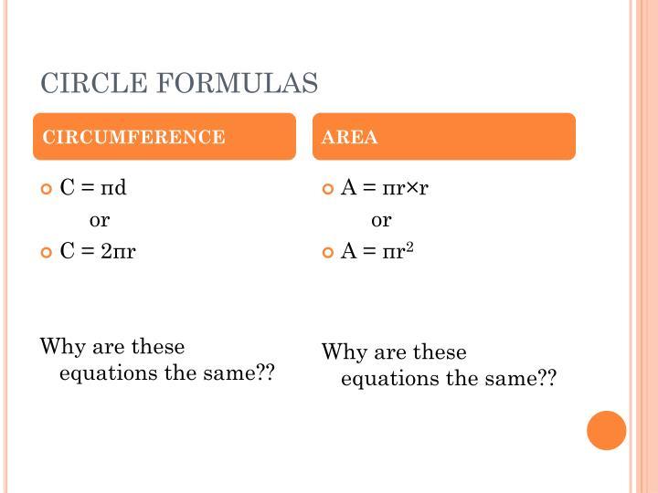 CIRCLE FORMULAS