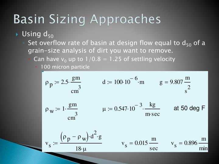 Basin Sizing Approaches