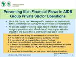 preventing illicit financial flows in afdb group private sector operations
