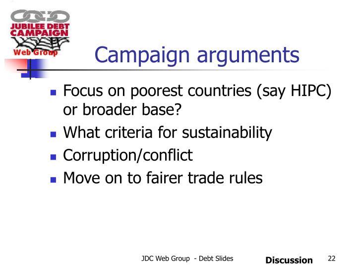 Campaign arguments
