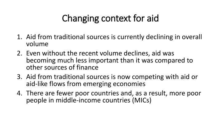 Changing context for aid