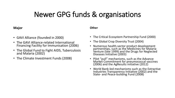 Newer GPG funds &