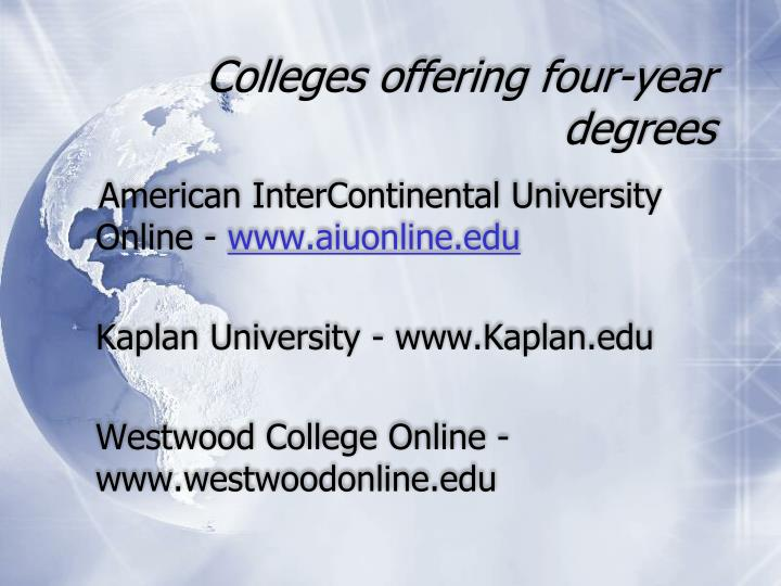 Colleges offering four-year degrees