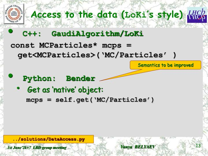 Access to the data (