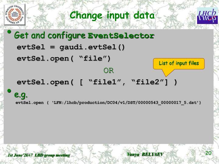 Change input data